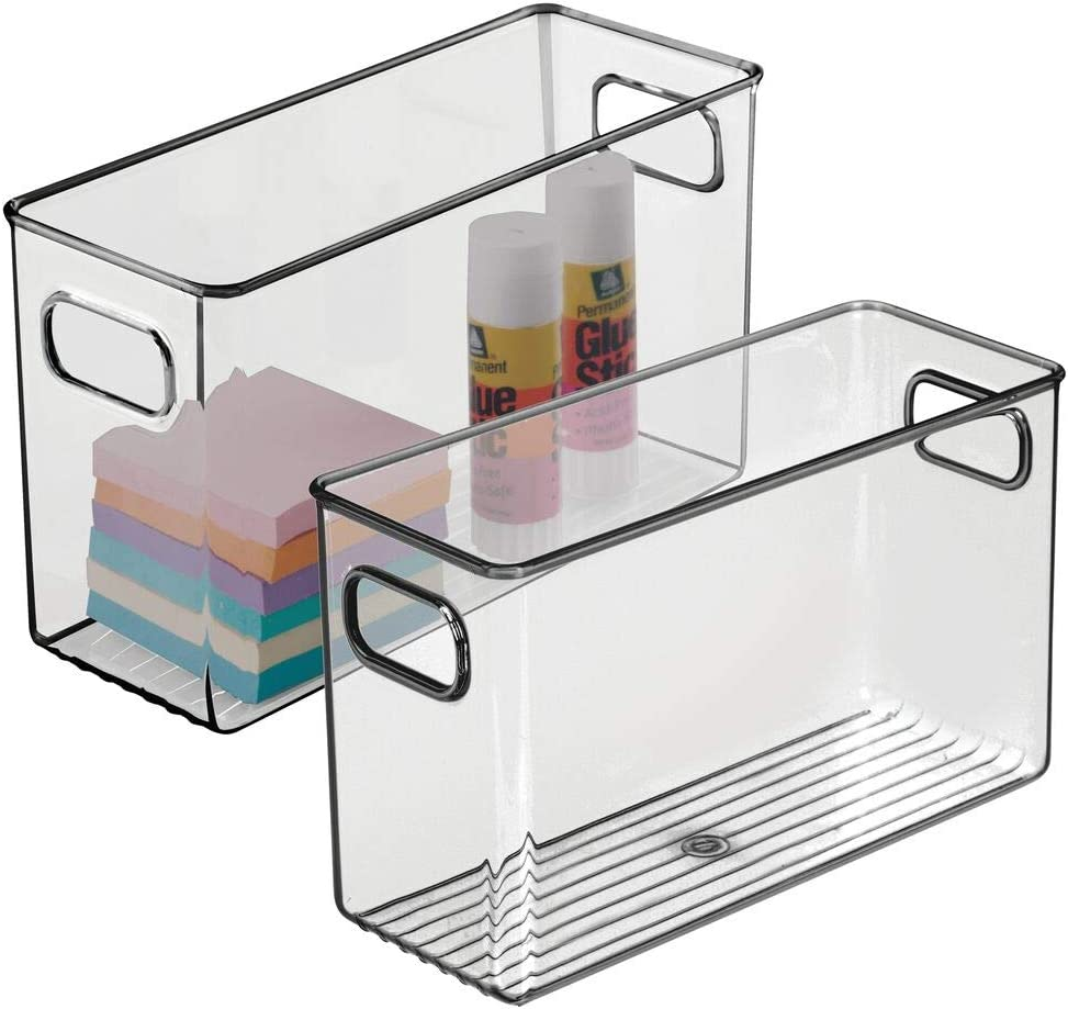 mDesign Plastic Home, Office Storage Organizer Bin with Handles - Container for Cabinets, Drawers, Desks, Workspace - BPA Free - for Pens, Pencils, Highlighters - 4