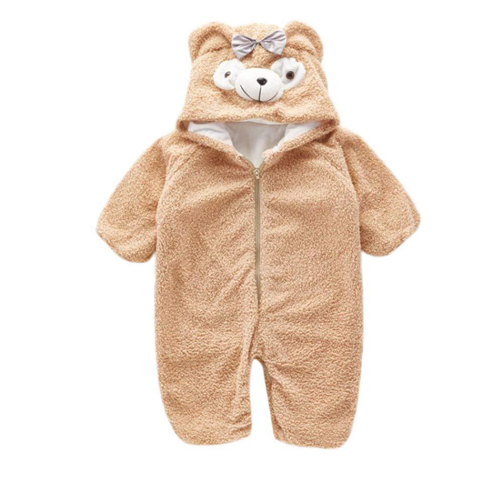 Newborn Baby Winter Onesie Unisex Kids Cartoon Bear Ears Warm Fleece Hooded Romper Jumpsuit