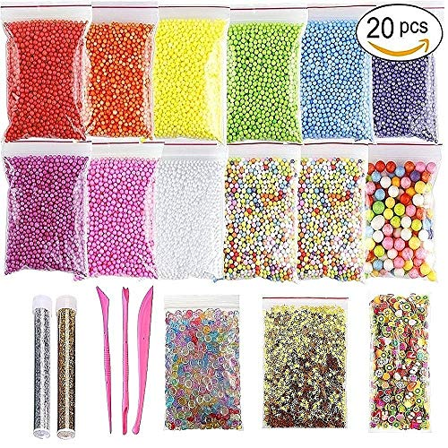 (Slime Making Kit Supplies Fishbowl Beads, Styrofoam Polystyrene Foam Balls Beads, Confetti, Glitter Jars, Fruit Slices, Slime Tools DIY Art Craft for kids, Homemade Slime, Wedding and Party Decoration)