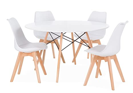 Sedie Bianche Design : Noorsk design set di tavolo karelia2 4 sedie wooden bianche