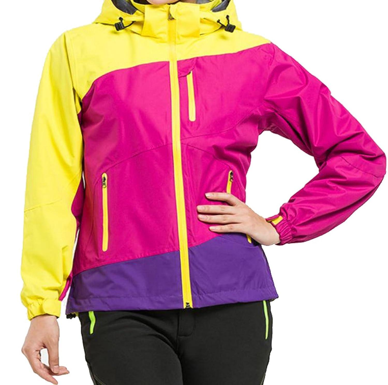 Abetteric Women's Windproof Hood Splice Outdoor Sport Jacket 1 S