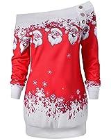 HOT SALE, AIMTOPPY Womens Merry Christmas Santa Snowflake Print Tops Long Sleeve Long Blouse Shirt