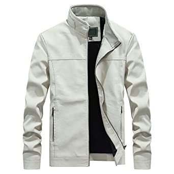 ZODOF Chaqueta Abrigo para Hombre Otoño Moda Color puro Collar del ...