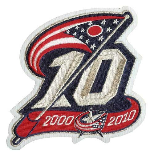 Columbus Blue Jackets 10th Anniversary Patch (2010-11) Anniversary Jacket Patch