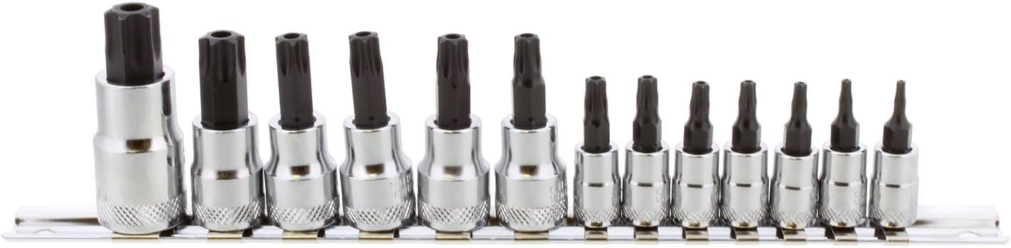 Qii lu 7Pcs 3//8inch Drive Extra Long Chrome-Vanadium Steel Screwdriver Star Bits and Sockets Set T25 T30 T40 T45 T50 T55 T60