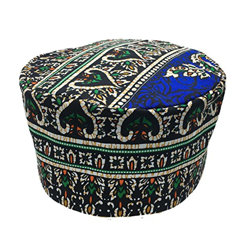 African Hat (Vipada Handmade African Dashiki Hat Kente Pattern Kufi Kofi Hat Cap 3 (White with Blue))
