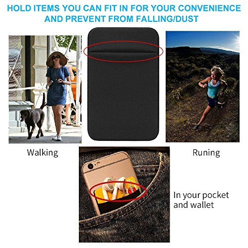 COCOFU Phone Card Sleeve, 3 Pack Cell Phone Ultra Slim Silicone RFID Blocking 3M Self Adhesive Stick on Pocket for…