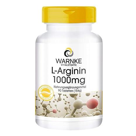 L-Arginina 1000mg de Warnke productos para la salud – 90 pastillas – sustancia pura