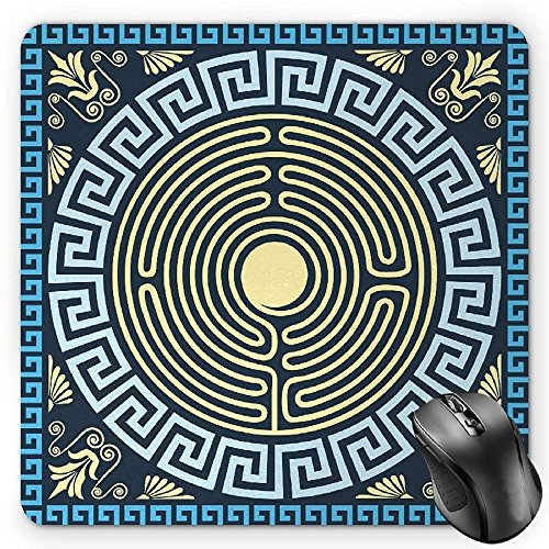 BGLKCS Greek Key Mouse Pad, Yellow and Blue Labyrinth Pattern from Ancient Culture with Floral Details, Standard Size Rectangle Non-Slip Rubber Mousepad, Pale Yellow (Floral Labyrinth)