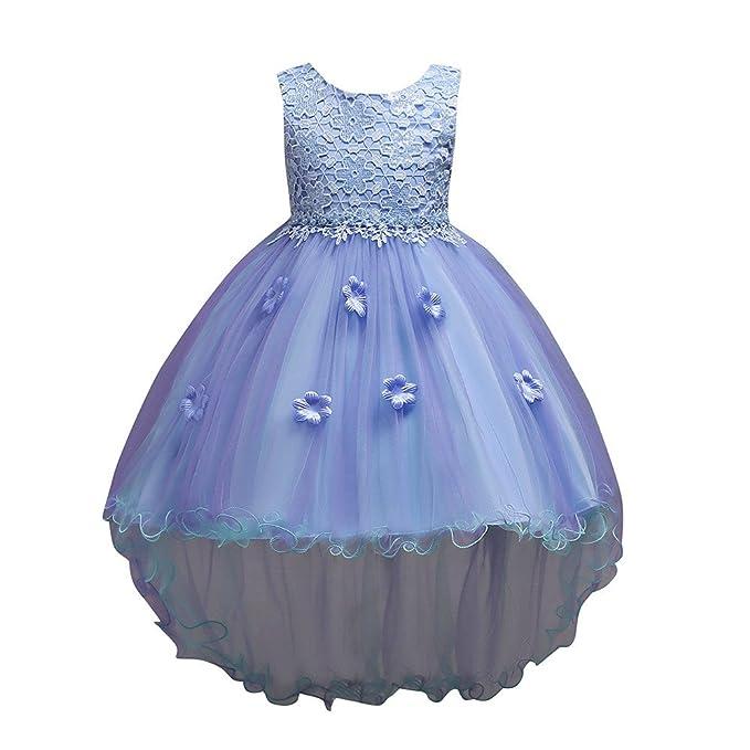 35bbcb7b5202 K-youth Vestidos De Fiesta Niña Elegantes Tutú Vestido De Boda Niña Vestido  De Princesa para Niña Noche Irregular Encaje Flores Traje de Ceremonia ...