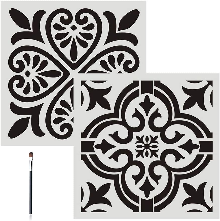FOUR-C Floral Painting Stencils for Floor Wall Tile Fabric Furniture Wood Burning Art & Craft Supplies Mandala Template-Reusable (2PC, A4+A5)