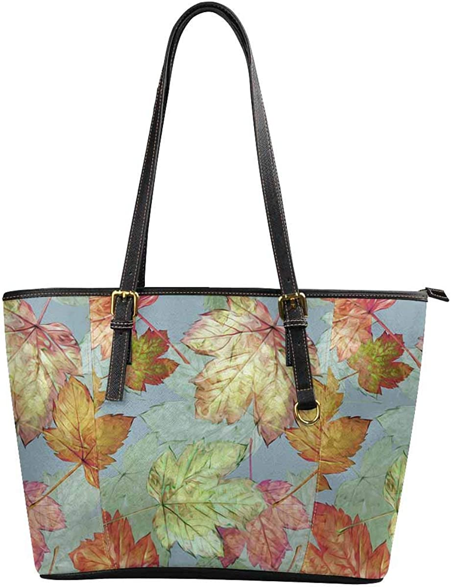 INTERESTPRINT Leaves on a Yellow Background in Pattern Purses and Handbags for Women Satchel Shoulder Tote Bags