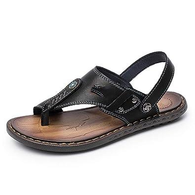 9e30990663af0 Elibone Leather Men Sandals Black Brown Sewing Beach Shoes Men Cool Summer  Slippers Shoes Breathable Mens