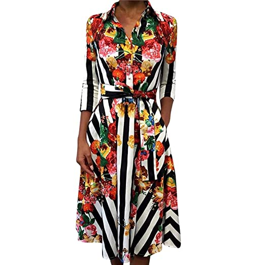 8193227bbb84 Sunsee Women Household Cocktail Party Long Sleeve Striped Floral Print Dress  Ladies Casual Dress (S