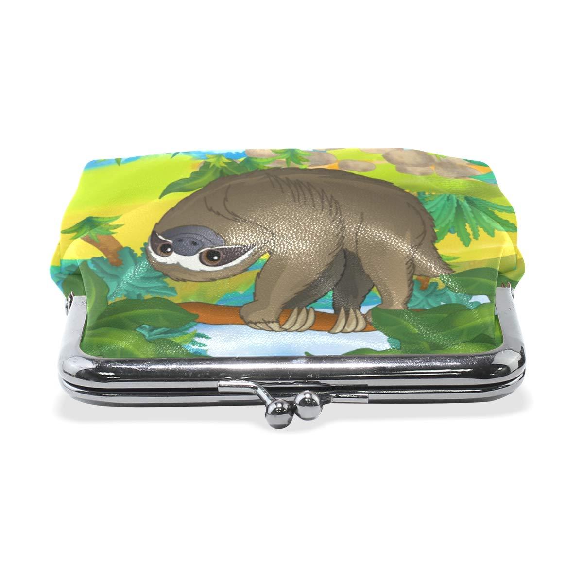 Fashion Womens Coin Purse Cartoon Forest Wild Sloth Vintage Pouch Mini Purse Wallets