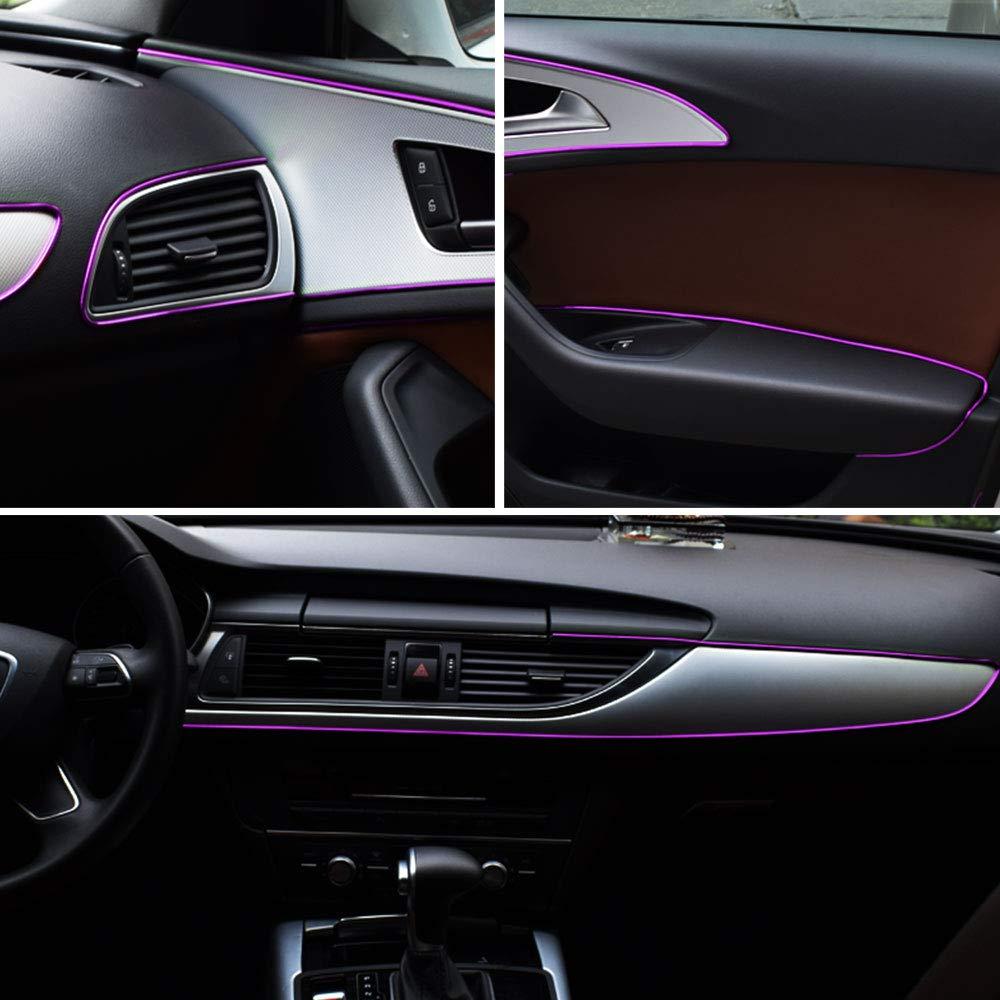 16FT 5M Ceyes Car Interior Trim Strips Flexible Car Interior Moulding Trim Strips Car Decoration Purple Trim Chrome Line Car Interior Gap Seal Protective Strip with Install Tool