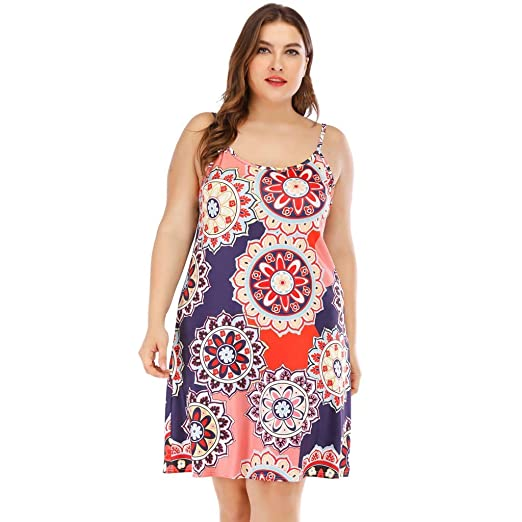 Sleeveless Dresses For Women Plus Size Printed Sleeveless ...