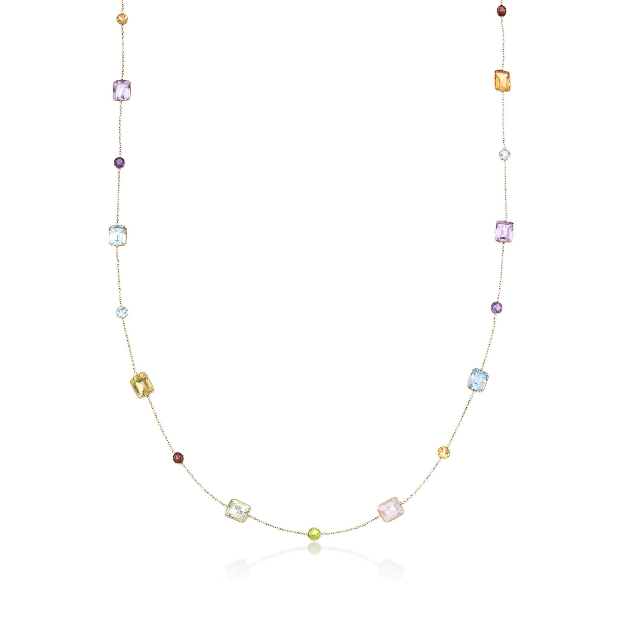 Ross-Simons 54.95 ct. t.w. Multi-Stone Station Necklace in 14kt Yellow Gold