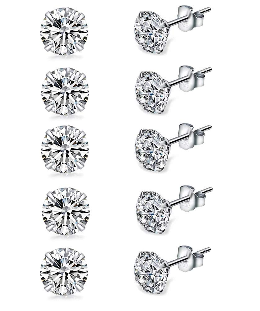 Sterling Silver Studs Earrings, 5 Pairs, Round Cut AAA Cubic Zirconia Platinum-Plated Stud Earrings for Women & Men's, Fashion Tiny Hypoallergenic Earrings for Sensitive Ears (5 Pairs in 3mm)