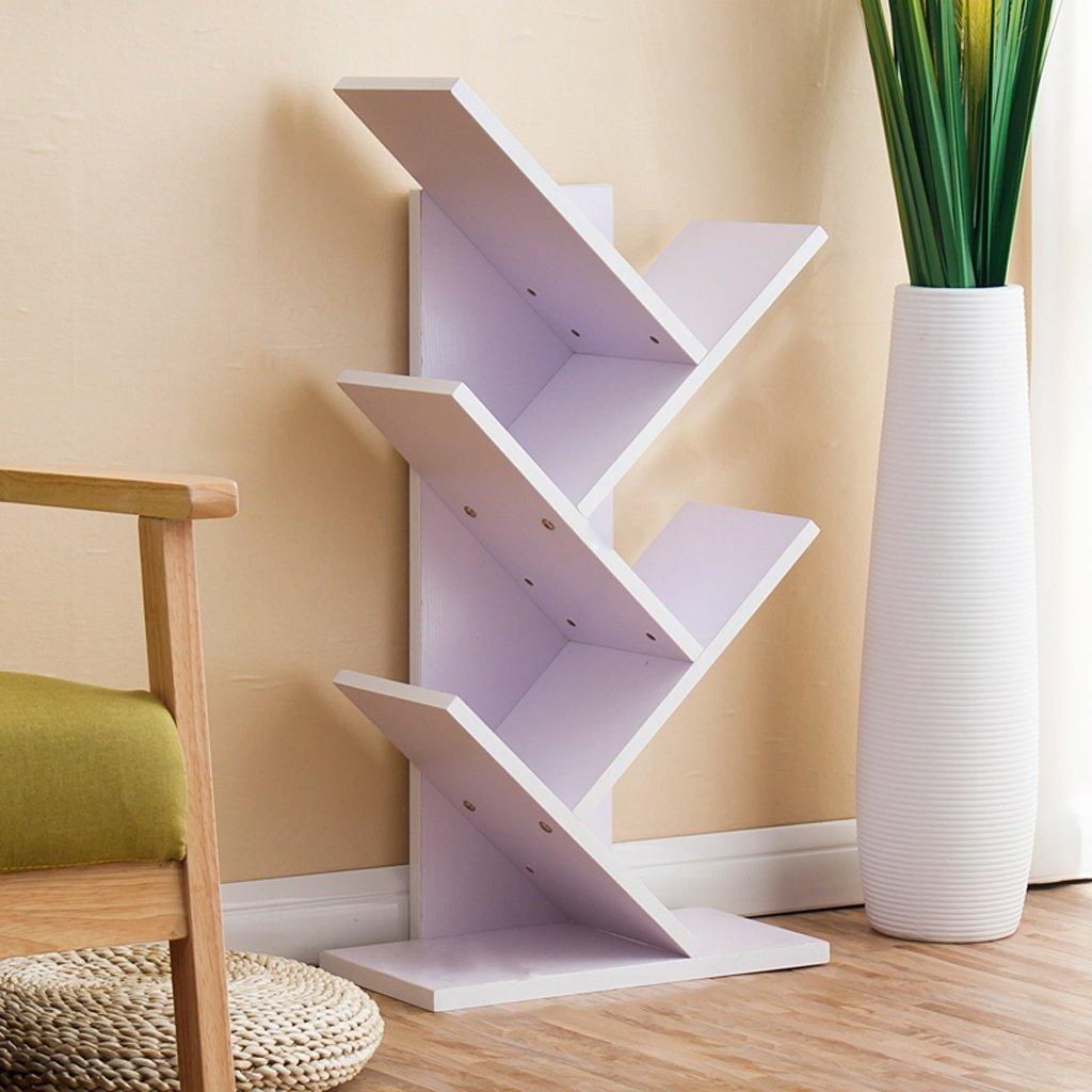 Bookshelf Shelf Floor Bookcase Living Room Combination Shelving Tree Tree-shaped Children's Bedroom Decoration Frame Storage Tower 5 Layers ( Color : White )