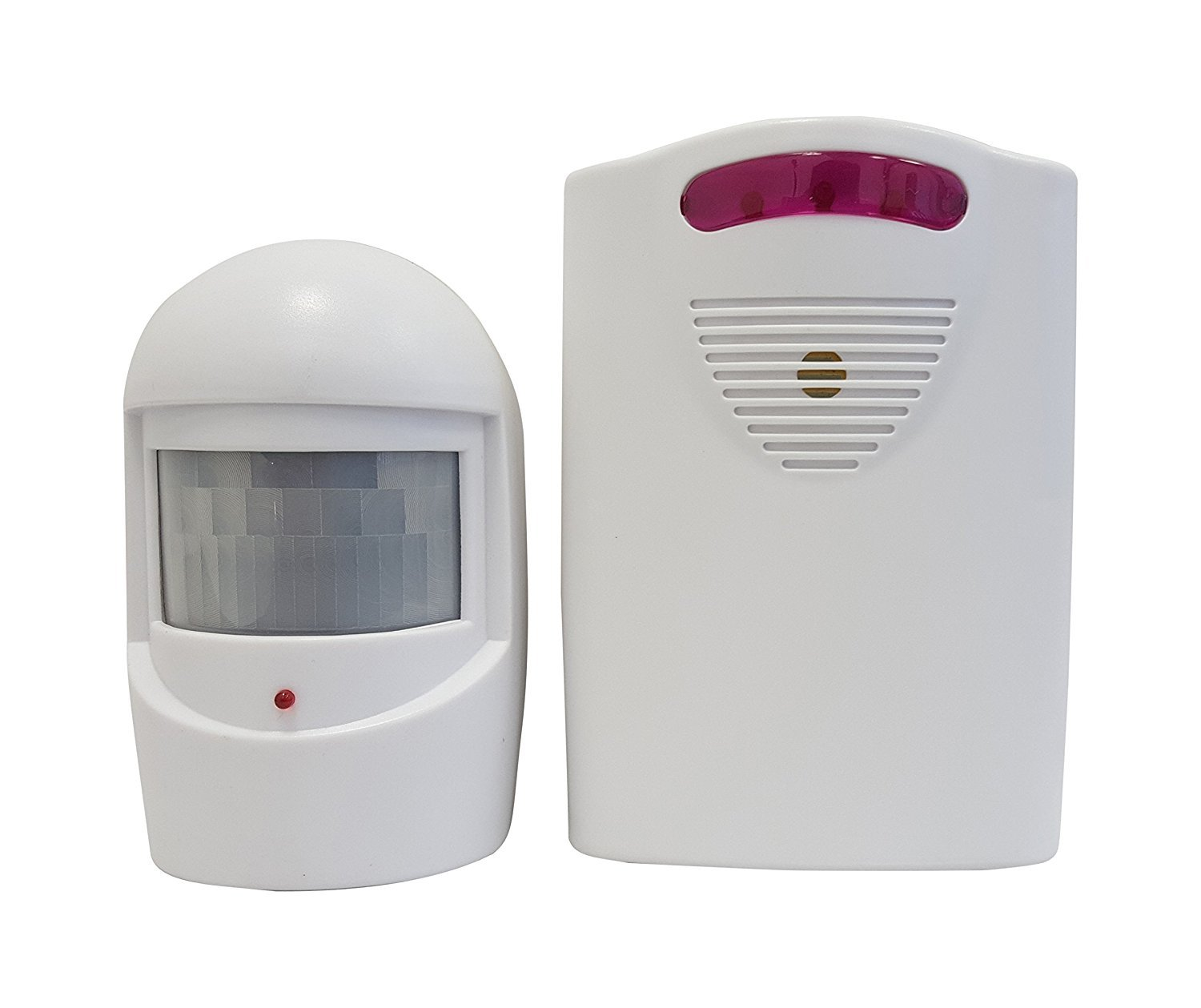 MaxWorks 70899 Wireless Long Range Security Motion Sensor with Home Base High/Low Volume 3 Chime Indicator