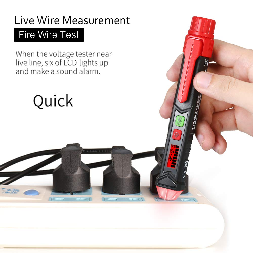 Leepesx HABOTEST Portable Non-Contact AC Voltage Tester Pen Shaped V~Alert Detector with Sound and Light Alarm