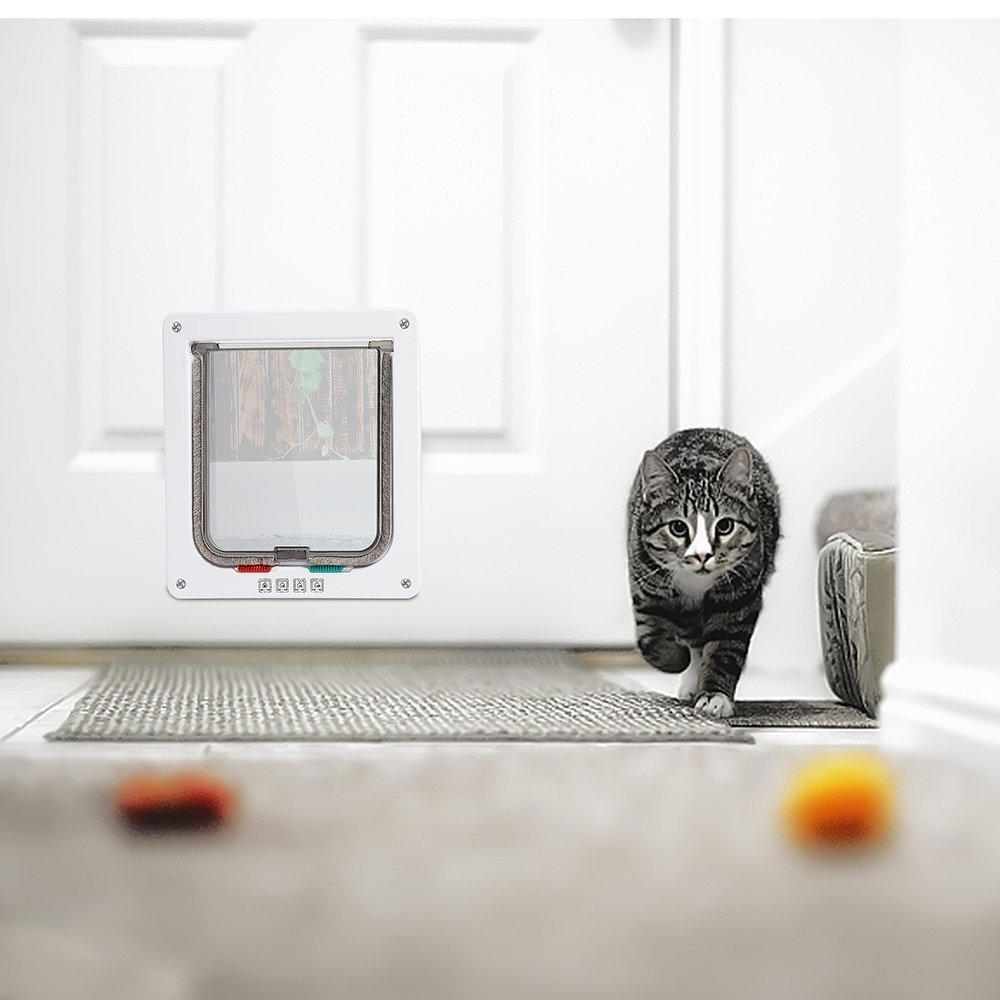 """Depets Large Cat Door (Outer Size 9.8"""" x 9.2"""") with 4 Way Locking, Waterproof Cat Flap Door, White Pet Door Kit for Kitten & Small Dog with Circumference Shorter Than 23"""""""