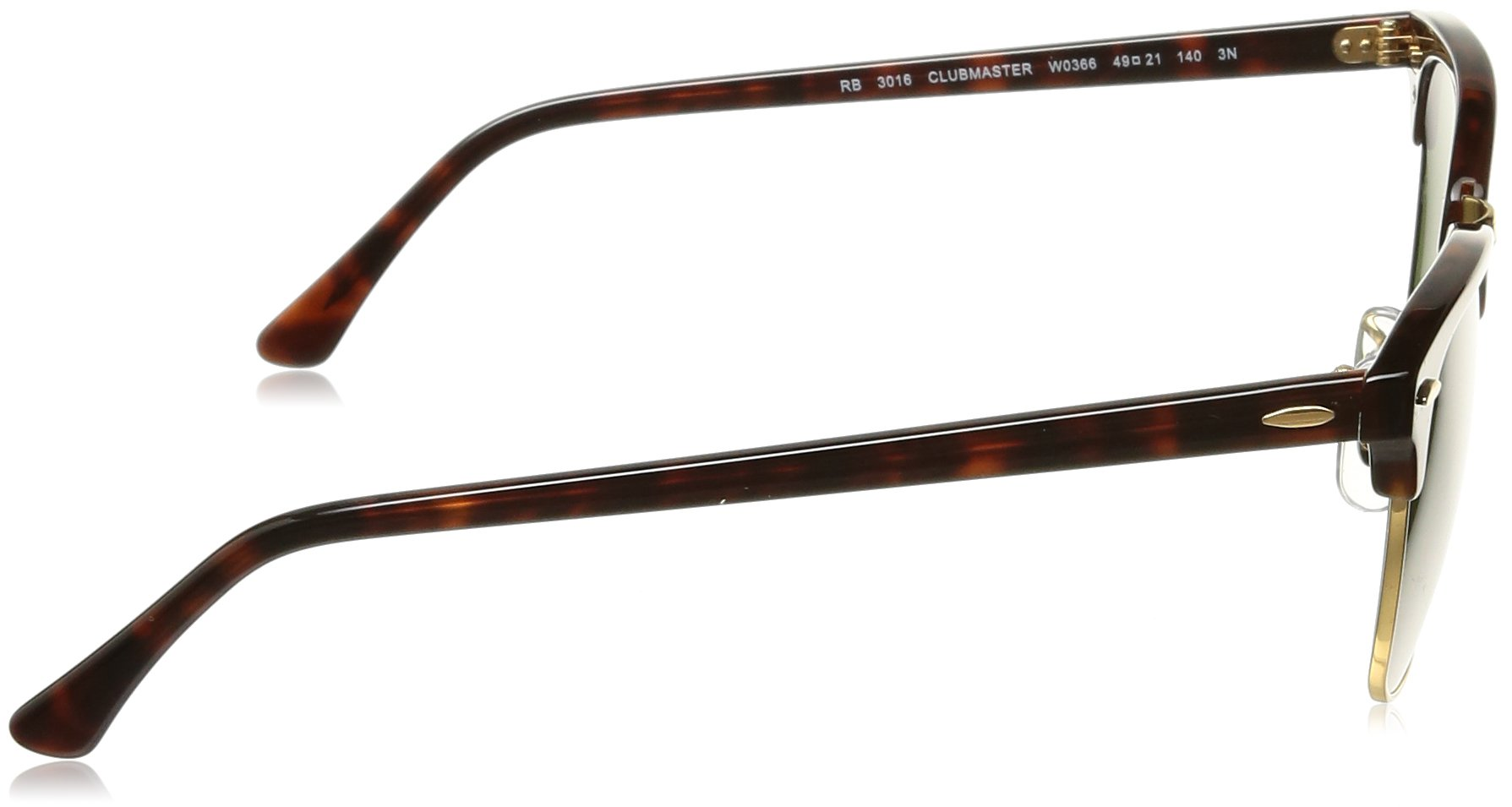 Ray-Ban CLUBMASTER - MOCK TORTOISE/ ARISTA Frame CRYSTAL GREEN Lenses 49mm Non-Polarized by Ray-Ban (Image #3)