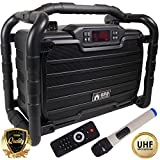 EMB PKL490BK-PK1 300W Power Box Jobsite Bluetooth Stereo Rechargeable Speaker - Water Splash Proof/ Shockproof/ Dustproof - Perfect for Construction Site/ Beach/ DJ Party/ Shop/ Home/ Camp, Black