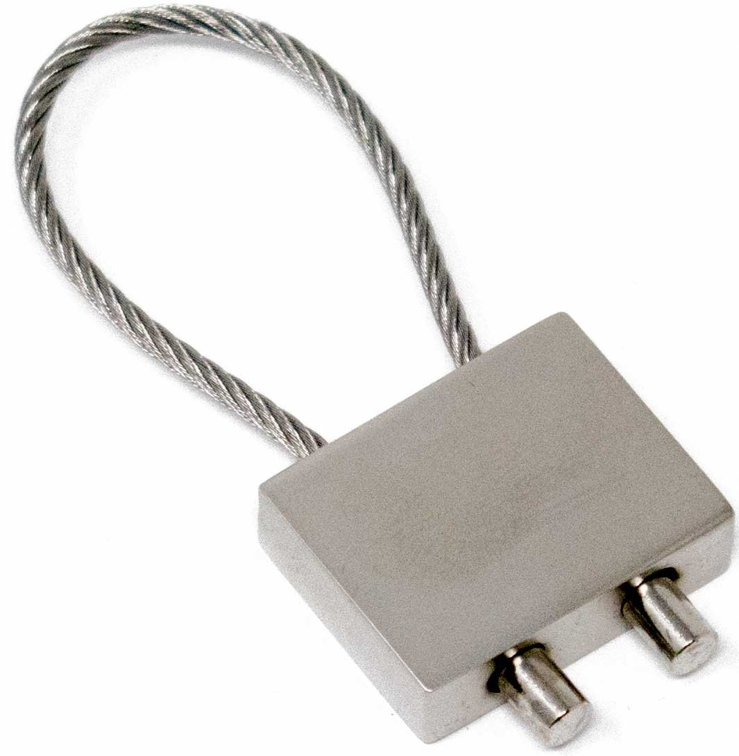 Silver Rectangle With Cable Wire Keychain