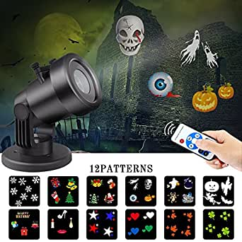 Led Christmas Light Projector Outdoor Landscape Spotlight with Remote Control 12 Slides Dynamic Lighting Show for Halloween, Theme Party, Holiday Decoration of House