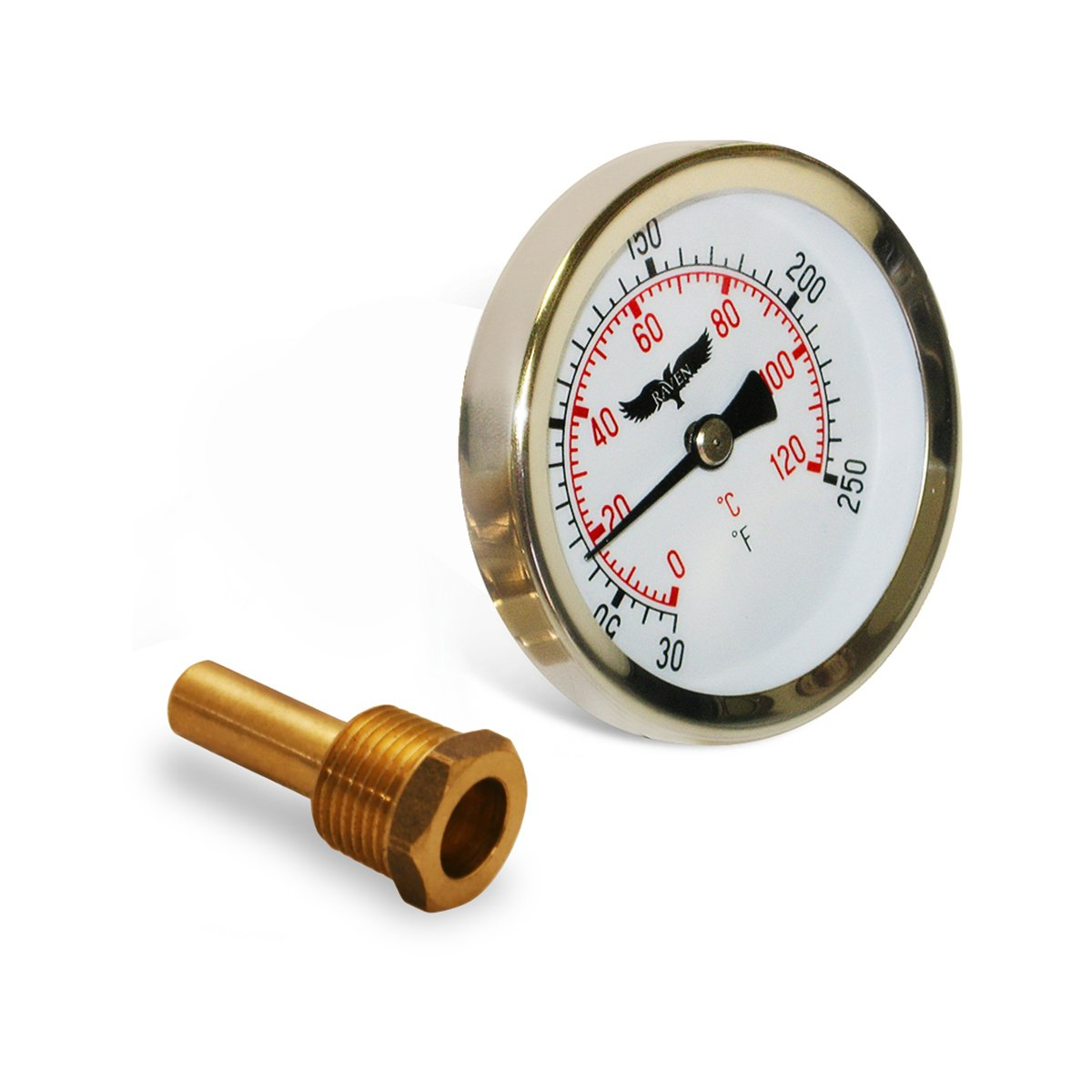 Raven R1516-NL Hot Water Thermometer Lead Free Circular Dial, Bi-Metallic Element, Aluminum Stem & Case Material with Removable IPS Well