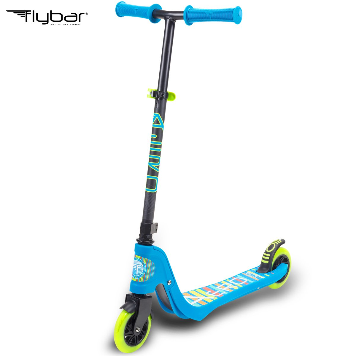 Flybar Aero 2-Wheel Kick Scooter For Kids With Grip Tape Deck, ABEC 5 Bearings, 125mm Light Up Wheels & Adjustable Handlebars - Holds Weights Up To 175 Lbs