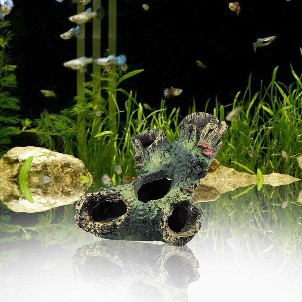 iBaste-ES Piedras Rocas para Peces Acuario Acuario Acuarelas decoración Adornos Dodge Hole Acuario simulación Madera Muerta Decorativos rocalla 12cm ...