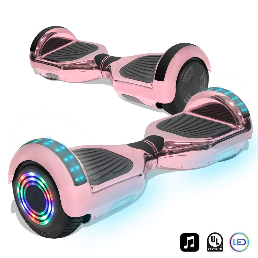 CHO 6.5'' inch Wheels Electric Smart Self Balancing Scooter Hoverboard with Bluetooth Speaker LED Light - UL2272 Certified (Rose Gold)