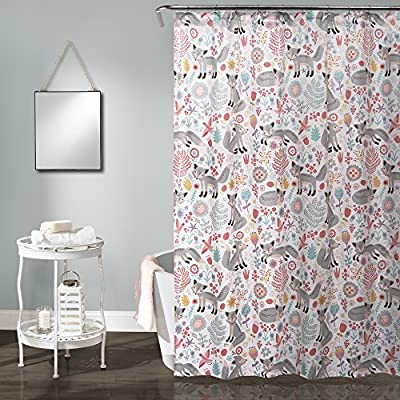 "Lush Decor Pixie Fox 72"" x 72"" Shower Curtain, Gray - 1 shower curtain: 72H x 72W Fabric content: 100Percent polyester Machine wash cold in a laundry mesh bag, with similar colors, gentle cycle. Use only non-chlorine bleach when needed. Tumble dry low, light iron if needed - shower-curtains, bathroom-linens, bathroom - 61pm3KBUonL. SS400  -"