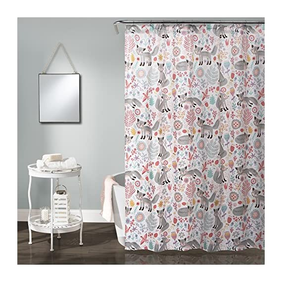 """Lush Decor Pixie Fox 72"""" x 72"""" Shower Curtain, Gray & Pink - Lush Décor Pixie Fox shower curtain is the perfect piece for your bathroom. The design is also available in curtains, sherpa throw and bedding Beautiful, playful print pattern of foxes against a white background - ideal for kids, adolescent or guest bathroom. Soft, 100% polyester fabric shower curtain with a fun and unique design to enhance your space. - shower-curtains, bathroom-linens, bathroom - 61pm3KBUonL. SS570  -"""