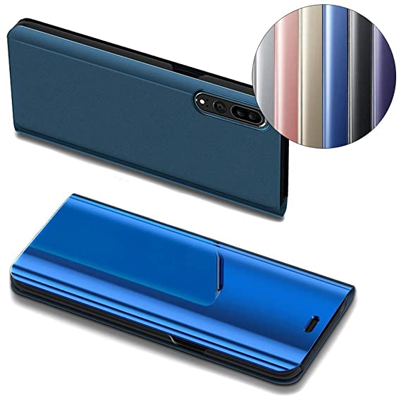 [Huawei P20 Pro] Case, COTDINFORCA Mirror Design Clear View Flip Bookstyle  Luxury Protecter Shell With Kickstand Case Cover for Huawei P20 Pro - 6 1