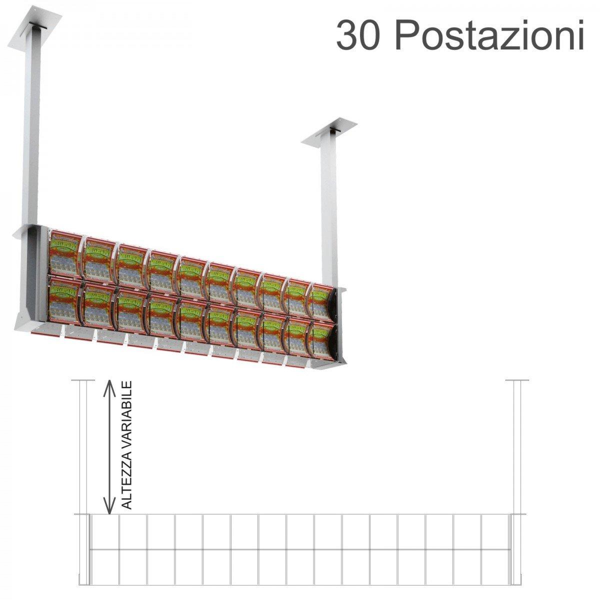 Espositore gratta e vinci da soffitto in plexiglass trasparente a 30 contenitori munito di sportellino frontale lato rivenditore
