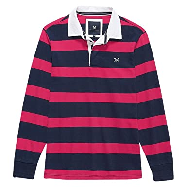 38bff29a866 Crew Clothing Crew Long Sleeve Rugby Top - Bright Rose-Navy Stripe - L:  Amazon.co.uk: Clothing