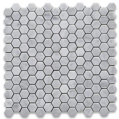 Carrara White Italian Carrera Marble Hexagon Mosaic Tile 1 inch Honed from Stone Center Online
