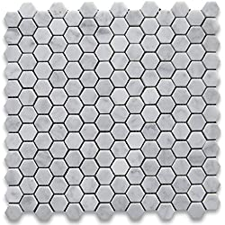 Carrara White Italian Carrera Marble Hexagon Mosaic Tile 1 inch Honed