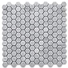 Premium Grade White Carrara Marble Hexagon Mosaic tiles. Italian Bianco Carrera White Venato Carrara Honed 1 inch Hex Mosaic Wall & Floor Tiles are perfect for any interior/exterior projects. The 1 inch Carrara White Marble Hexagon Mosaic...