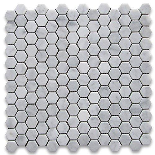 White Marble Tiles - Carrara White Italian Carrera Marble Hexagon Mosaic Tile 1 inch Honed