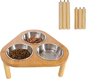 Miss Meow Raised Cat Dog Bowls with Stand Feeder, Elevated Bamboo Stand with 3 Stainless Still Bowls and Removable Feet. (Stainless Still Bowls)