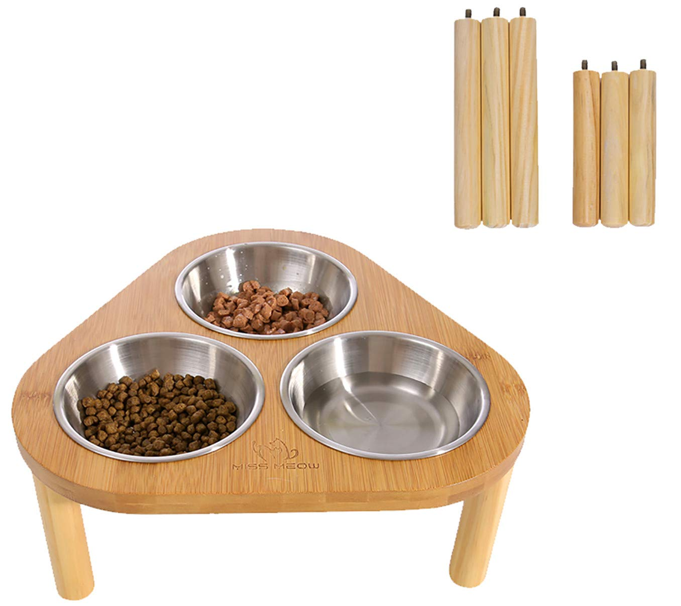 Miss Meow Raised Cat Dog Bowls with Stand Feeder, Elevated Bamboo Stand with 3 Stainless Still Bowls, Anti Slip and Removable Feet. (Stainless Still Bowls)