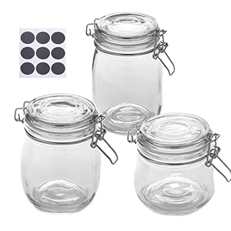 Amazoncom Glass Jars With Airtight Rubber Gasket And Hinged Lid