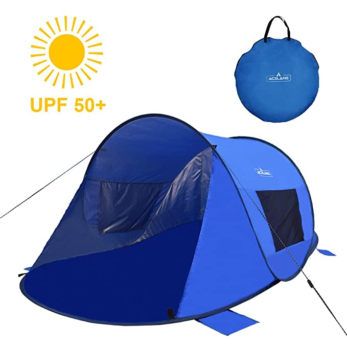 Acelane 2 Person Beach Pop Up Tent Instant Sun Shelter UV Protection Carrying Bag Lightweight Portable Easy Setup for Family Kids Camping Fishing