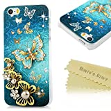 iphone 5s clear case with gems - iPhone SE Case,iPhone 5S Case 3D Handmade Bling Colorful Diamonds Gold Butterflies with Shiny Sparkle Rhinestone Gems Crystal Clear Protective Hard PC Case Cover by Mavis's Diary