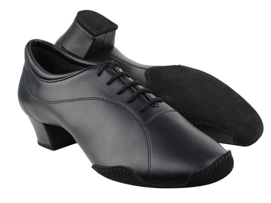 Very Fine Shoes Men's Latin & Rhythm Competitive Dancer Series CD9321 Black Leather with 1.5'' Heel (9.5)